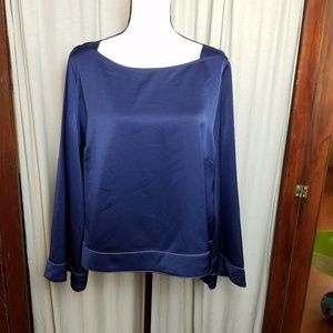 PROLOGUE night blue blouse bell sleeves XL stretch